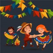 Young woman dancing salsa on summer festivals celebrated in Brazil Festa Junina girl in straw hat traditional fiesta dance holiday party dancer festive people carnaval concept vector illustration