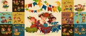 Young woman dancing salsa on festivals celebrated in Brazil Festa Junina man play on sanfona near bonfire traditional fiesta dance holiday party dancer festive people carnaval vector illustration