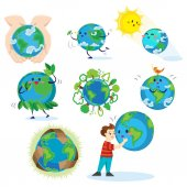 Earth day happy boy hugging planet ecology concept of love the world green and blue globe protection global eco save nature vector illustration isolated on white background