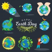 Set for Earth day happy boy hugging planet ecology concept of love the world green and blue globe protection global eco save nature vector illustration isolated on white background