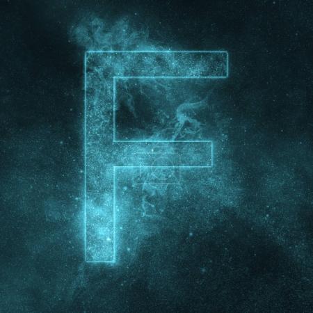 Lettre F symbole de l'alphabet. Lettre de l'espace, Lettre du ciel nocturne .