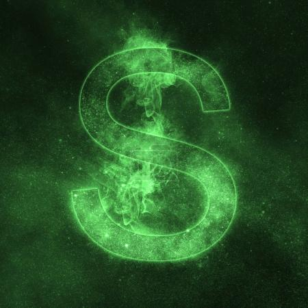 Letter S alphabet symbol. Space Letter, Night Sky Letter.