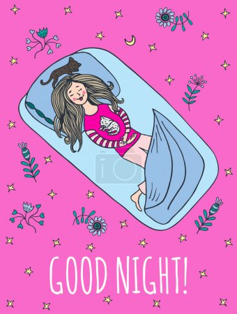 Good night card with sleeping girl and cats