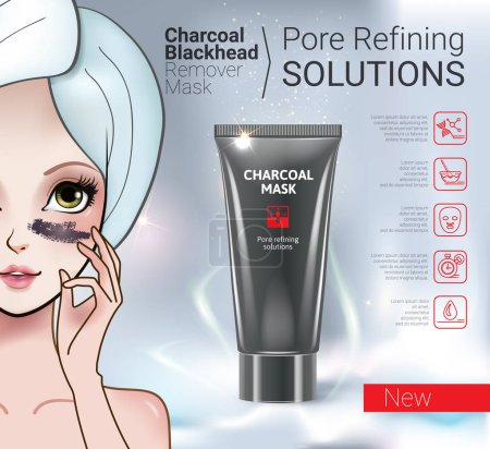 Vector Illustration with Manga style girl and Charcoal Mask tube.