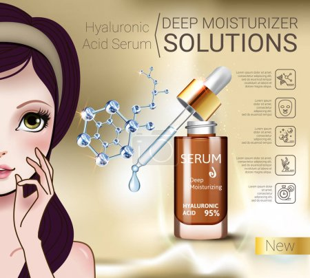 Vector Illustration with Manga style girl and Hyaluronic Acid Serum
