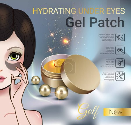 Vector Illustration with Manga style girl and eye gel patches