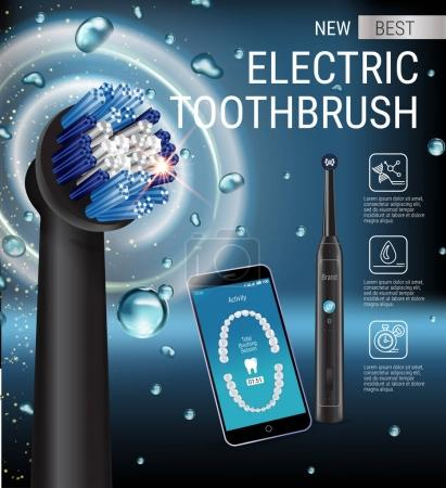 Illustration for Electric toothbrush ads. Vector 3d Illustration with vibrant brush and mobile dental app on the screen of phone. Horizontal composition with high tech products. - Royalty Free Image