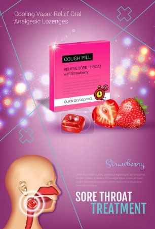 Cough Drops ads. Vector 3d Illustration with straw...