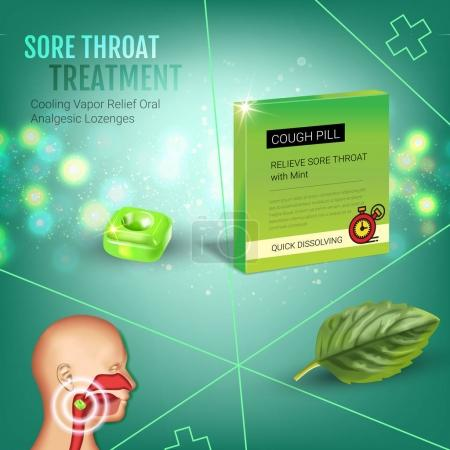 Cough Drops ads. Vector 3d Illustration with mint ...