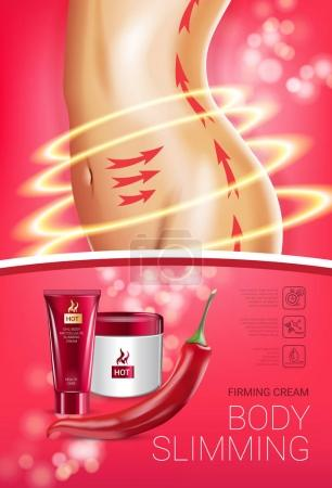 Illustration for Body skin care series ads. Vector Illustration with chili pepper body slimming firming cream tube and container. Vertical poster. - Royalty Free Image