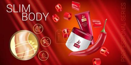 Illustration for Body skin care series ads. Vector Illustration with chili pepper body slimming firming cream tube and container. Horizontal banner. - Royalty Free Image