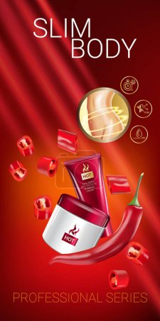 Illustration for Body skin care series ads. Vector Illustration with chili pepper body slimming firming cream tube and container. Vertical banner. - Royalty Free Image