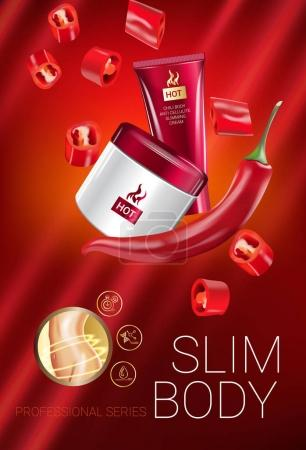 Illustration for Body skin care series ads. Vector Illustration with chili pepper body slimming firming cream tube and container. Verical poster. - Royalty Free Image