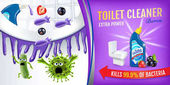 Berries fragrance toilet cleaner ads Cleaner bobs kill germs inside toilet bowl Vector realistic illustration Horizontal poster