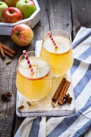 Autumn apple cider cocktail with spices and apple slices. Selective focus