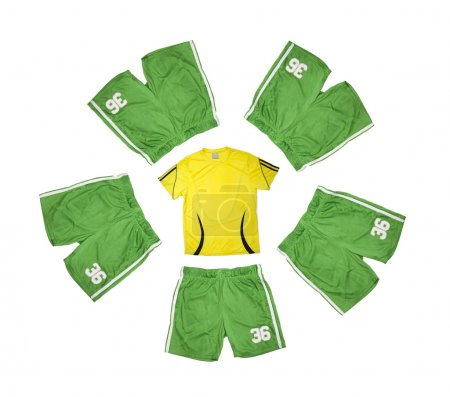 yellow t-shirt and five green shorts