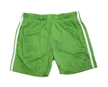 Photo for Football green shorts isolated on a white background. - Royalty Free Image