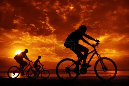 company of  friends on bicycles