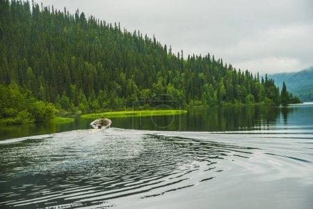 Boat on blue lake  floating