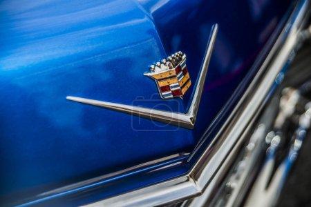 Cadillac metallic logo on hood