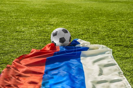 flag of Russian federation and  ball.