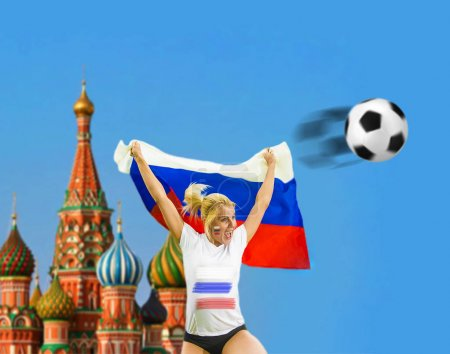 girl holding  in hand Russian flag