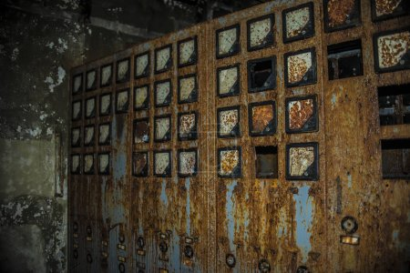 old rusty electrical switchboards