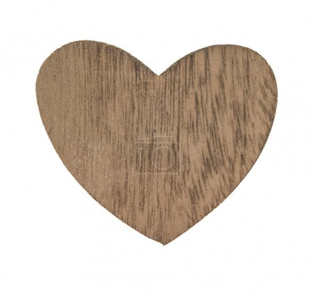 Wooden heart isolated on white background