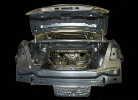 LINZ, AUSTRIA - NOVEMBER 14, 2017: Model of car. body carcase car with no wheel  on dark background