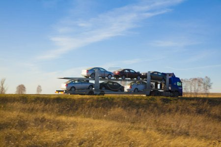 Strasbourg, France - October 29, 2012: truck loaded passenger cars, transportation of cars