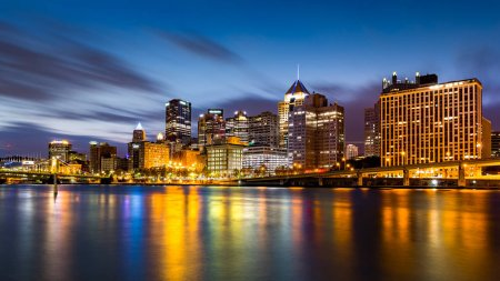 Pittsburgh downtown skyline at dawn