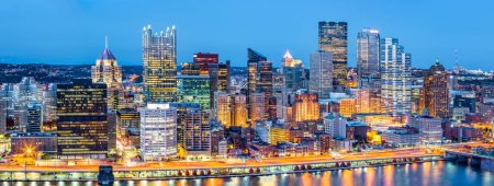 Pittsburgh downtown panorama at dusk
