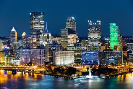 Pittsburgh downtown skyline by night