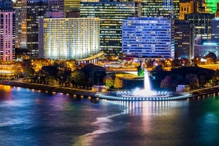 Pittsburgh cityscape and Point State Park by night