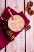 anjeer milk shake or fig milk shake, health drink with dried figs, selective focus