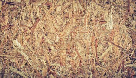 Close up pressed light brown wooden panel background, seamless texture of oriented strand board - OSB wood.