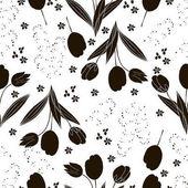 Vector Floral Seamless Pattern Hand Drawn Fashion Illustration