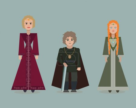 June 28, 2017. Vector cute cartoon characters of Game Of Thrones. Cersei Lannister, Tyrion Lannister, Sansa Stark. Flat style.