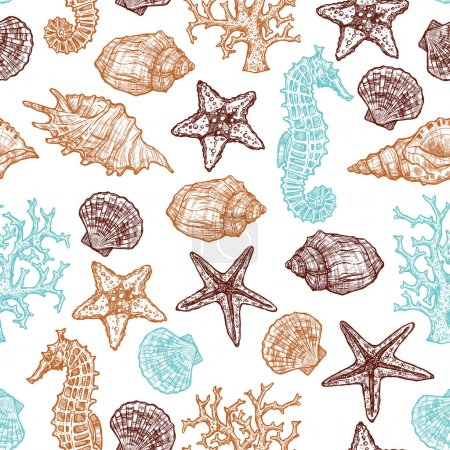 Illustration for Seamless Hand Drawn Sea Pattern With Shells, Sea Horse, Starfish And Corals. Summer Background - Royalty Free Image