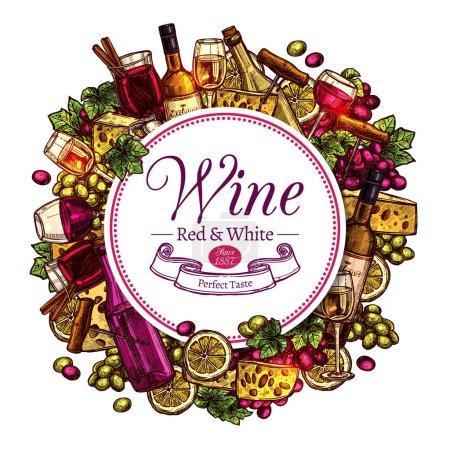 Illustration pour Esquisse de vin Design rond. Fond coloré dessiné à la main - image libre de droit