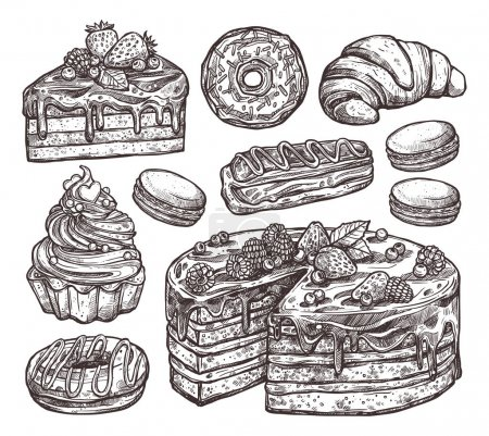 Sketch Collection Of Bakery Products