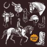 Hand Drawn Equipment For Horses. Horse And Horseba...
