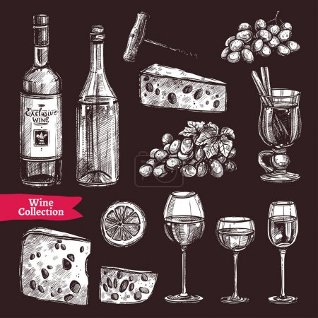 Photo for Hand Drawn Wine Set On Chalkboard. Sketch Style Illustration - Royalty Free Image