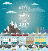 Invitation or winter's card Merry Christmas and Happy New Year Template flat design vector illustration City life and urban landscape under the snow Train rides around the mountains Winter market