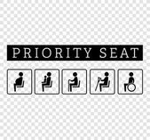 Disabilities and seniors cripple pregnant mom or mother with child area sign set Priority seating for customers special place icons isolated on background Vector illustration flat style