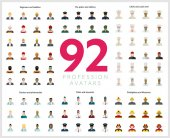 Set of 92 flat profession avatars Engineers and builders firefighters and lifesavers police and military pilots and stewards chefs and sushi chef doctors and pharmacists Vector illustration