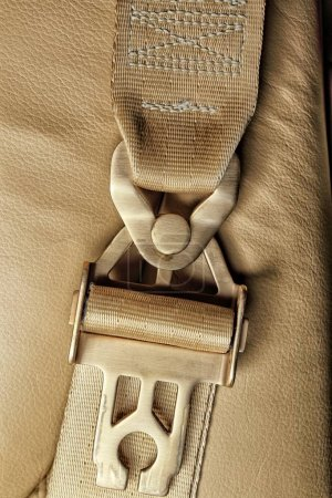 Detail of the golden buckle connection of waist and shoulder safety belt strap