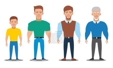 Cartoon characters showing age progress. People Generations. All age group of european man