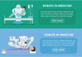 Robots in medicine. Vector illustration. Flat