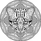 Painted the wild cat on the background tribal mandala patterns Element for your design Cards bags coloring books for adults t-shirts tattoo Line art design Zendoodle Coloring page for adults